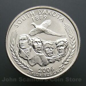 2006 P South Dakota Statehood Quarter Uncirculated from OBW Roll ShipsFree One