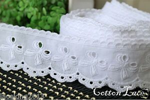 14Yd-Broderie-Anglaise-eyelet-cotton-lace-trim-1-8-034-4-5cm-white-yh590w-laceking