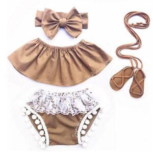 8e1fb3e95cbe Newborn Baby Girl Clothes Set Off Shoulder Top T-Shirt+Shorts Pants ...
