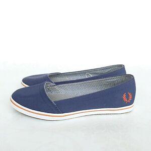 Fred-Perry-Femme-Chaussures-36-UK-3-5-Bleu-Clair-Espadrilles-Pont-Bateau-Chaussures-Escarpins
