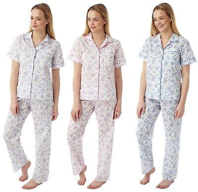 Plus size Short Sleeve Floral Cotton Nightie Nightdress Pink Purple Blue 10 30