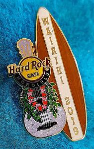 HONOLULU-WAIKIKI-BEACH-2019-MAY-DAY-GUITAR-LEI-SURFBOARD-Hard-Rock-Cafe-PIN-LE