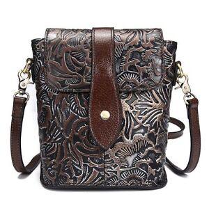 ffafd3174a Image is loading Vintage-Women-Genuine-Leather-Shoulder-Bag-Embossed-cow-