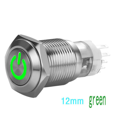 Top 16//12mm Push Button 12V Car Durable LED Power Momentary Switch Metal ON//OFF