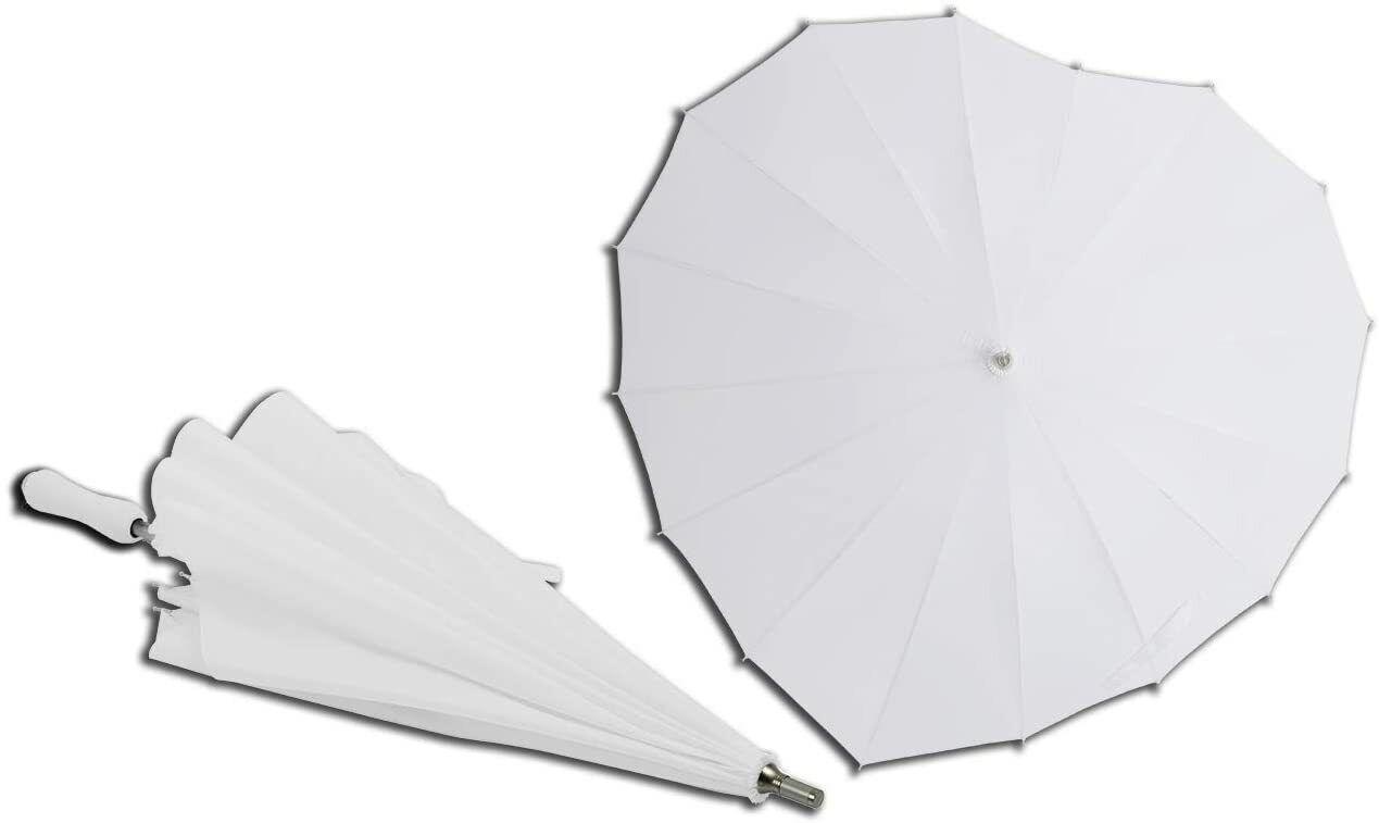 White Heart Shaped Parasol Umbrella For Valentine, Wedding, Engagement & Props
