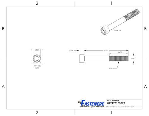 3//8-16 Socket Head Cap Screws Allen Hex Drive Stainless Steel Bolts All Lengths