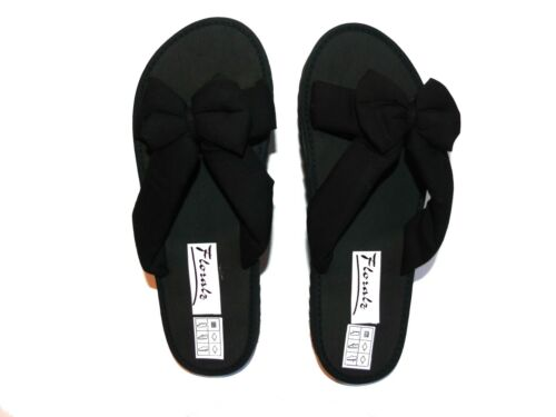 Señoras tela arco frontal Slip On Mula Flip Flop Sandalias De Verano Negro Marina
