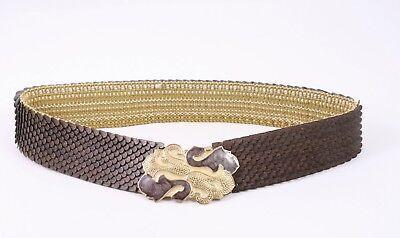 Dg158 Capannone Cintura In Vita Cintura Marrone Oro Email Stretch 65 - 100 Vintage-mostra Il Titolo Originale