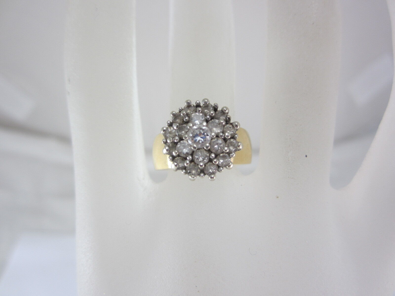 14K TWO-TONE gold DIAMOND CLUSTER RING 5.8 GRAMS 0.6CT.