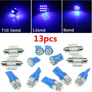 13x-Blue-LED-Lights-Interior-Package-Kit-Dome-License-Plate-Lamp-Bulbs-Light-L