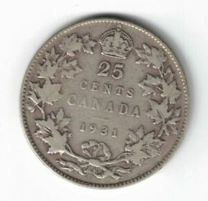 CANADA-1931-TWENTY-FIVE-CENTS-QUARTER-KING-GEORGE-V-800-SILVER-COIN