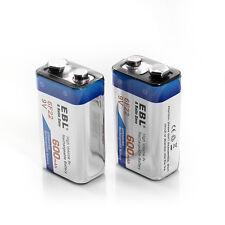 2x EBL 600mAh Li-ion 9V Batteries 9 Volt 6F22 Lithium-ion Rechargeable Battery