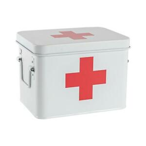 Vintage First Aid Storage Canister Metal Square Box Airtight Seal White