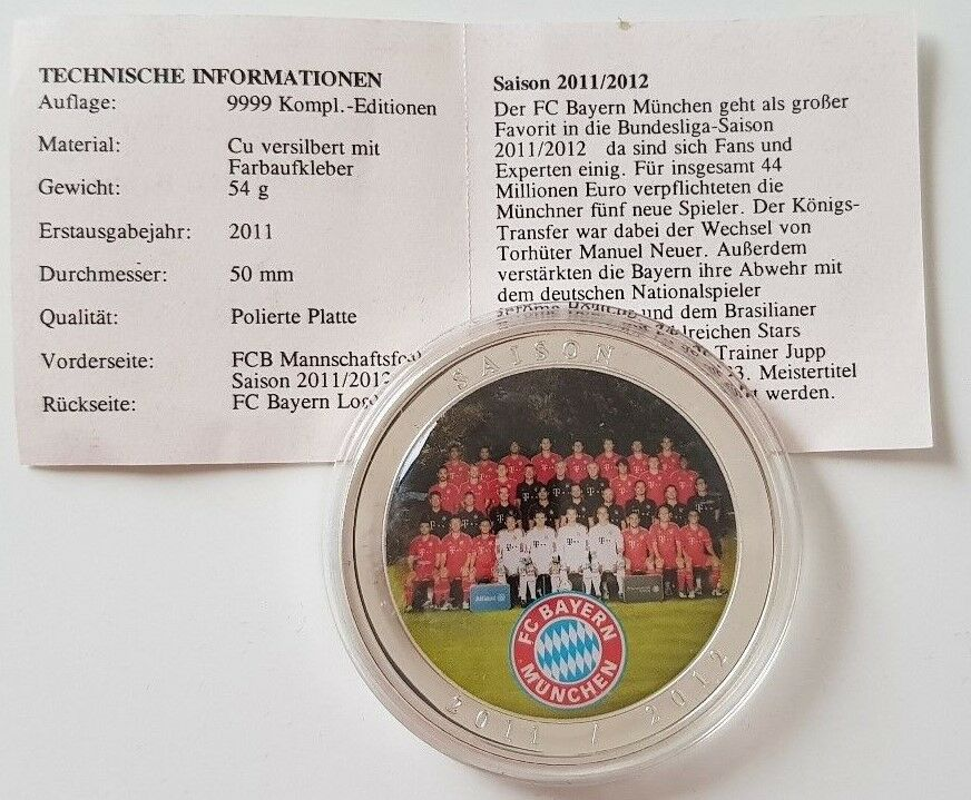 Münze Medaille Fc Bayern München Saison 2011 2012 Top Ebay