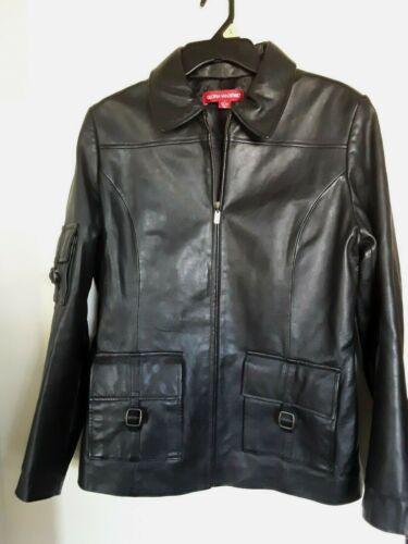 Vintage Gloria Vanderbilt Black Leather Jacket  Sz