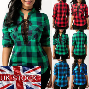 Women-Lace-Up-Plaid-Checked-Tee-T-Shirt-Ladies-Casual-Shirts-Tops-Blouse-UK-ILC