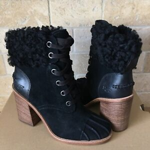 f028dff4764 Details about UGG JAXON BLACK SUEDE CUFF LACE UP HEEL ANKLE BOOT BOOTIES  SIZE 9.5 WOMENS