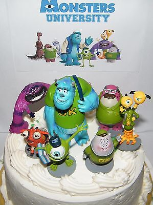 Astonishing Disney Monsters Inc Cake Toppers Set Of 7 Large Figures With Mike Personalised Birthday Cards Epsylily Jamesorg