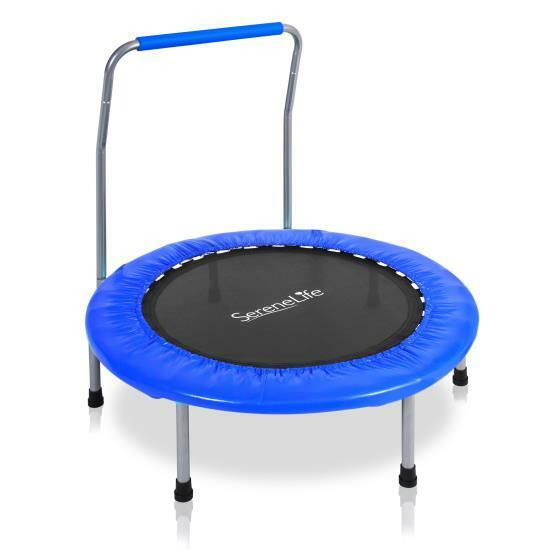 Serene-Life Childrens Indoor Trampoline w/ Handle Bar Bouncing Indoor Childrens Toy Jumping Fun fa86c9
