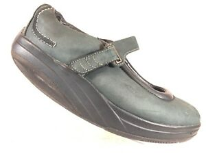 efd4952c5e2e MBT Kaya Green Faded Black Leather Mary Jane Toning Walking Shoes ...