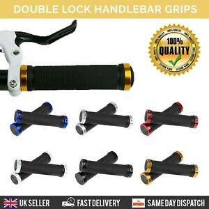 Double-Lock-On-BMX-MTB-Bike-Coloured-Bicycle-Scooter-Handle-bar-Grips-cycle