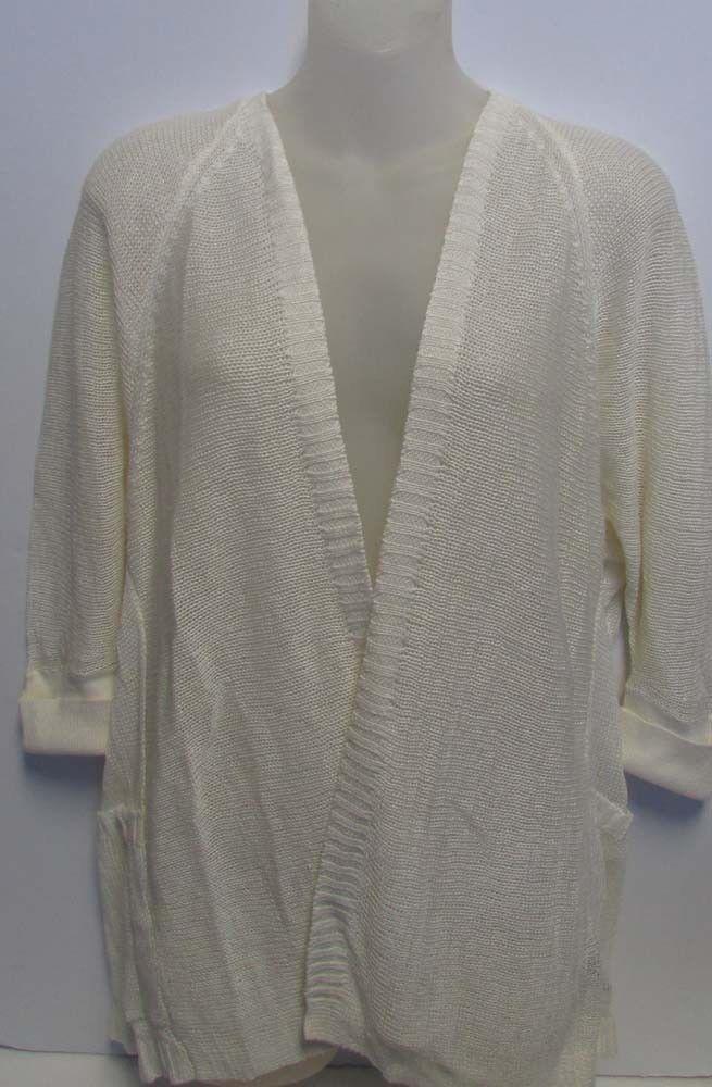 NWT Polo Ralph Lauren Open Front Cardigan Pearl Linen PETITE Sz PS