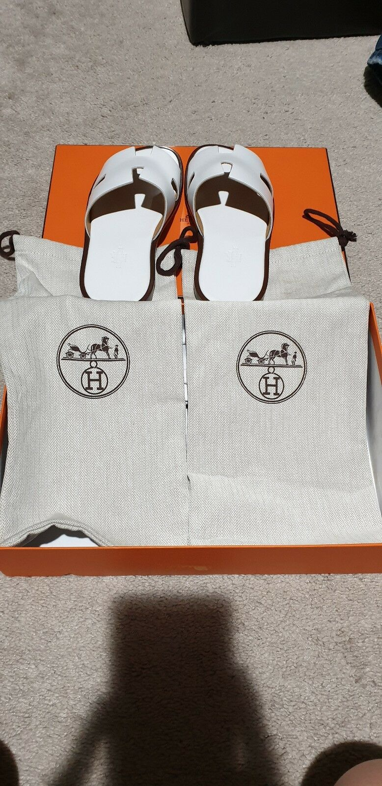 HERMES Men's H Sandal in White Size 40 (US 6.5)  BRAND NEW WITH BOX AND DUST BAG