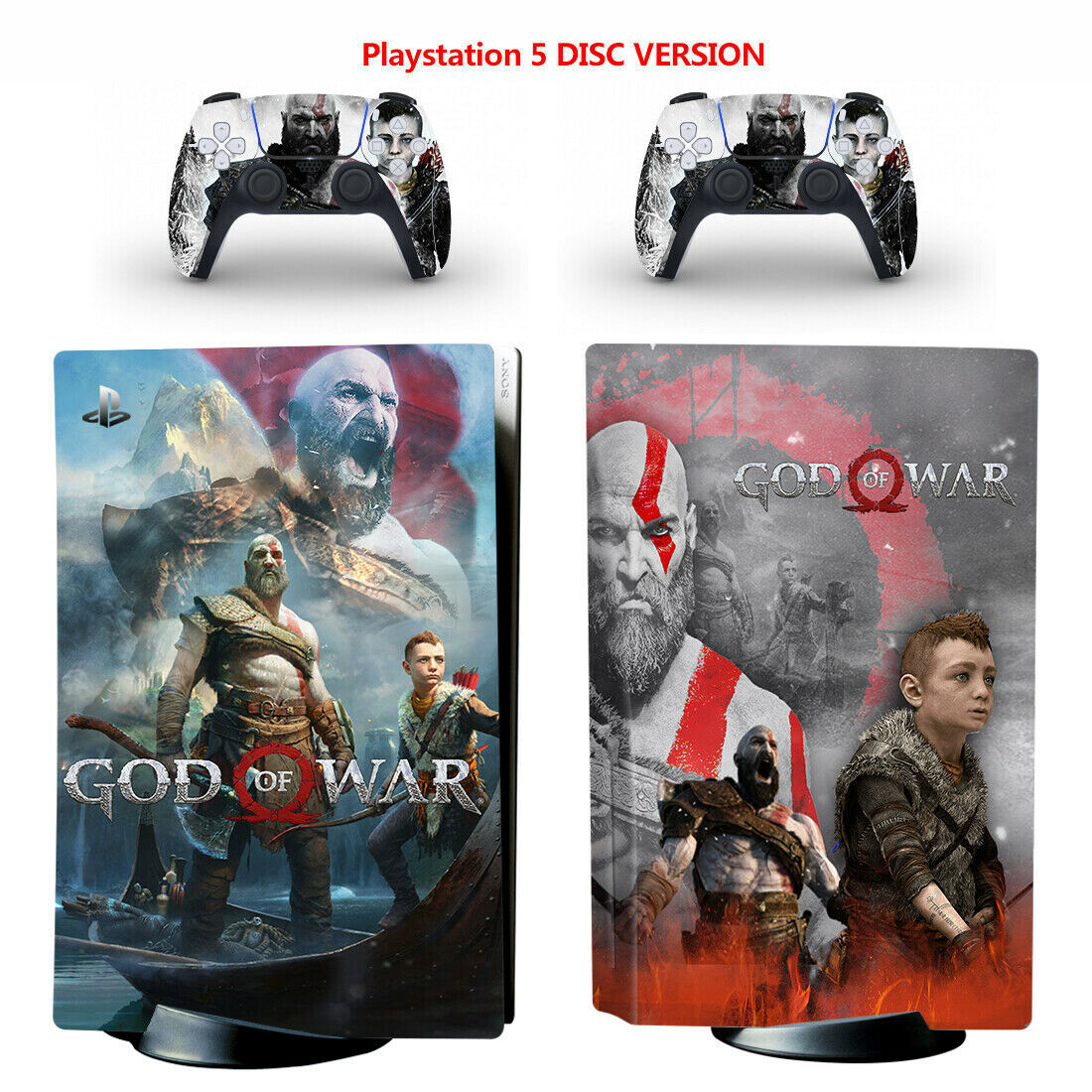 PS5 Skin Sticker for Disc Console Full Vinyl Decal Protective Cover God of War