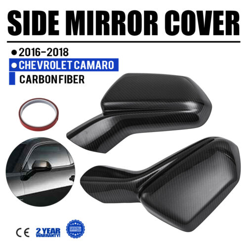 FOR 2016-18 CHEVY CAMARO LT SS RS ZL1 CARBON FIBER ADD-ON SIDE VIEW MIRROR COVER