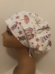 By the Sea Women/'s  Euro//Chef Surgical Scrub Hat//Cap Handmade