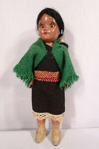 Vtg-Miniature-Hispanic-Native-American-Girl-Doll-Eyes-Moves-7-1-2-034-H-Pre-Owned