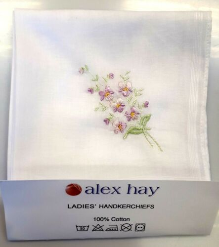 3 Options Ladies White Handkerchiefs with Floral Embroideries Pack of 6