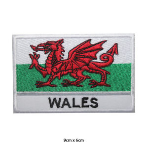 Wales National Flag Embroidered Patch Iron on Sew On Badge For Clothes Bags etc