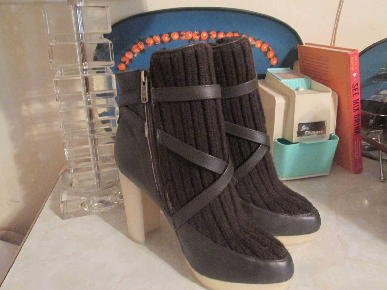 Australia Luxe Collective Women's Mercy Knit Booties Boots Brown Size 9 NWOB