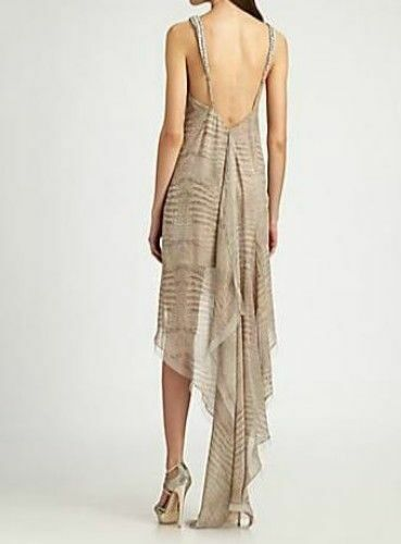 NEW BCBG BCBG BCBG MAX AZRIA  PUMICE IRINA BEADED ASYMMETRIC DRESS VMY6R185 AL213 SZ S 754b57