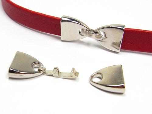 10 x 2 mm innen Verschluss für flaches Band silberfarben; G91