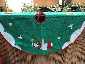Vintage Extra Large Christmas Tree Quilted Skirt Vintage Christmas Vintage Hand Made Patchwork Skirt and  Gingham Christmas Tree Skirt