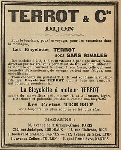 Dettagli Su Y8242 Biciclette A Motore Terrot Pubblicità Depoca 1907 Old Advertising
