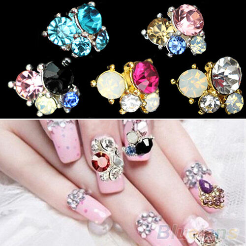 Hot 10pcs 3D Rhinestones Nail Art Glitters Sticker Tips Manicure DIY Decorations