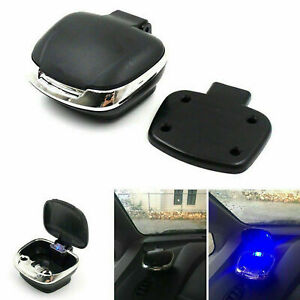 Auto-Aschenbecher-Mit-LED-blauLicht-w-abnehmbare-Basis-Universal-Black-Shell