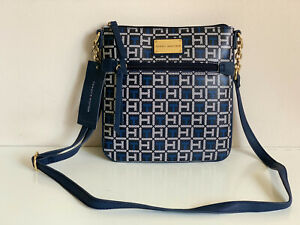 NEW! TOMMY HILFIGER BLACK NAVY BLUE PVC MESSENGER CROSSBODY SLING BAG PURSE $69
