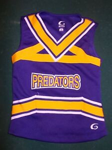 cheaper 67664 26d9c Details about PREDATORS Youth SMALL GTM Cheerleader Top - Purple, Yellow,  White
