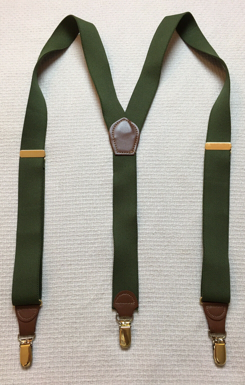 Pelican Braces Suspenders Green Elastic Brown Leather Brass Clip GUC FAST SHIP!
