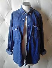Douglas Fir Women's Medium Blue Denim 100% Cotton Button Down Casual Shirt