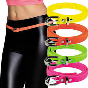 80er Jahre Neon Gürtel Hüftgürtel schmal Damengürtel mit Schnalle Disco Fasching
