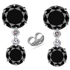 4.55 ct AAA Black Moissanite & Natural Rough Diamond .925 Silver Earrings- VIDEO