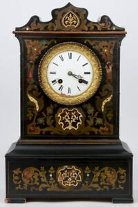 Antique-French-NAPOLEON-III-mantel-clock-inlaid-1880