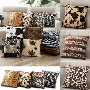 Animal-Print-Fleece-Pillow-Case-Zebra-Leopard-Waist-Cushion-Cover-Home-Decor