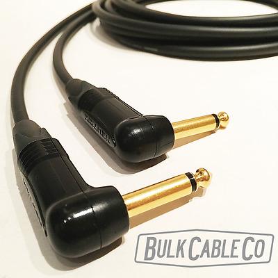 Gold Contacts 20/' Mogami W2524 Guitar Black Cable w//Neutrik RA-S Connectors
