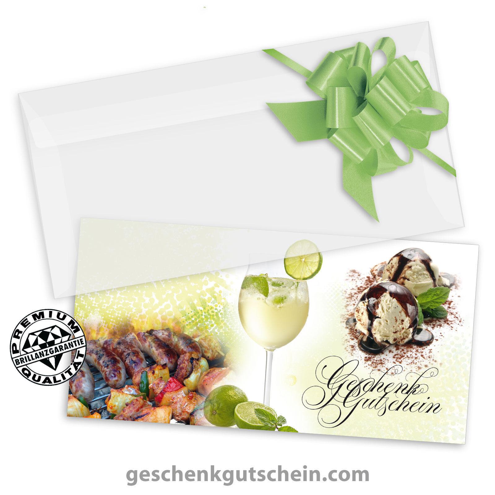 Gutscheinkarten  DINlang  mit KuGrüns und Schleifen für Restaurants G92004